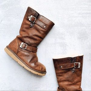 UGG • Sutter distressed brown leather buckle boots